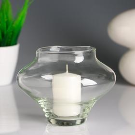 Подсвечник стеклянный 'Яблочко'с белой свечой, 14,7×10,5 см Ош
