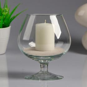 Ваза-бренди стеклянная, малая, на низкой ножке, с белой свечой, 11,5×13,8 см Ош