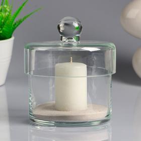 Ваза-цилиндр стеклянная 'Труба' с крышкой, с белой свечой, 10,7×10,5 см Ош