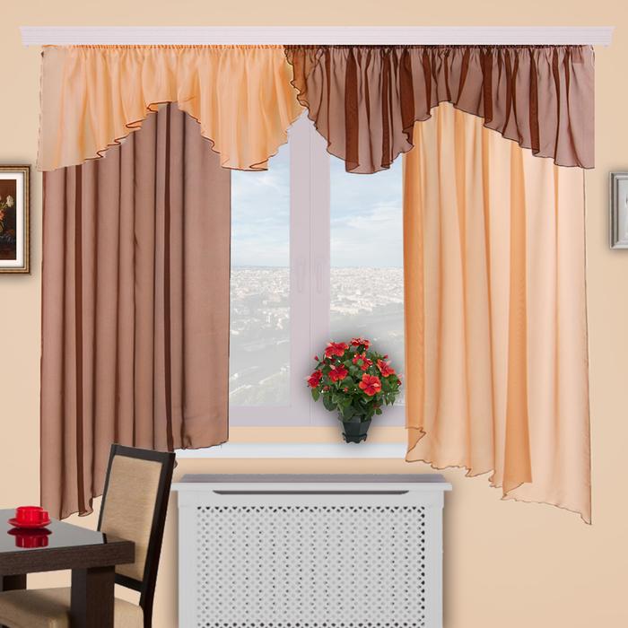 Шторы кухонные «Каприз», 150х160 см-2 шт, ламбрекен 50х550 см, цвет 3