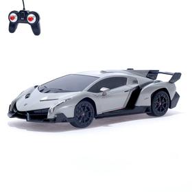 Машина радиоуправляемая Lamborghini Veneno, 1:24, работает от батареек, свет, цвет серый, mz 27043