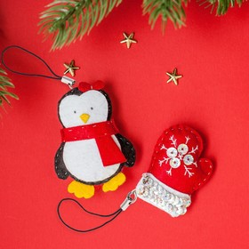 """Set to create a keychain out of felt """"Penguin and varyushka"""""""