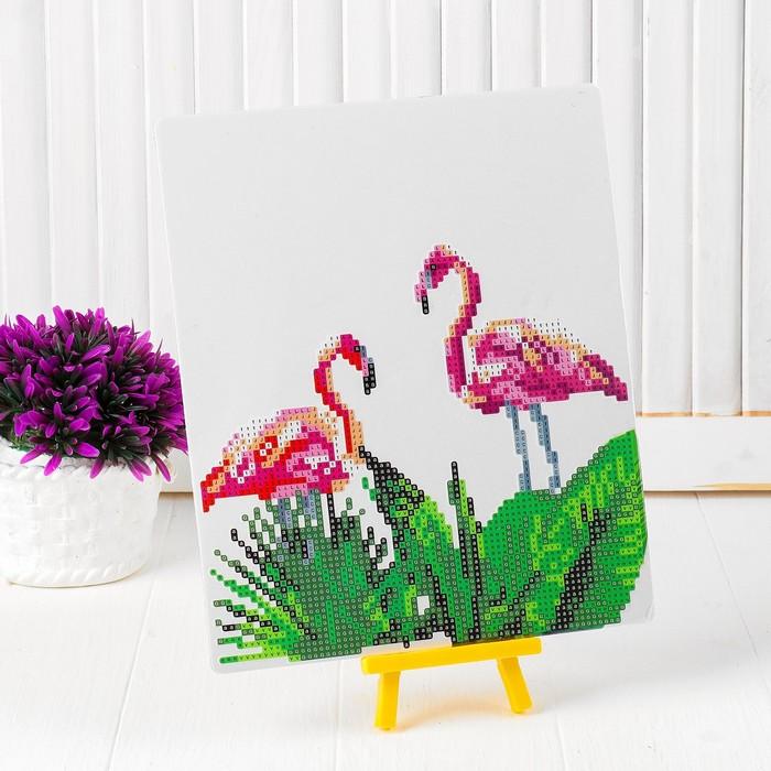 Алмазная вышивка с частичным заполнением «Пара фламинго в листьях», с подставкой, размер картины: 21 × 25 см