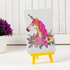 """Алмазная вышивка с частичным заполнением """"Единорог с цветами"""" с подставкой, размер картины: 10 × 15 см"""