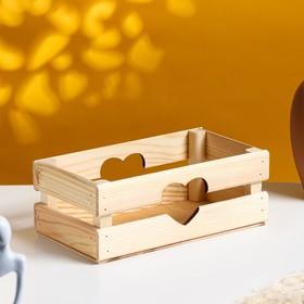 """Кашпо деревянное 24.5×13.5×9 см """"Двушка Лайт"""" реечное, сердце, натуральный Дарим Красиво"""