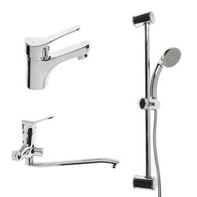 Набор смесителей SONAS H435-S, 3 в 1, для раковины, для ванны, душевая стойка, хром