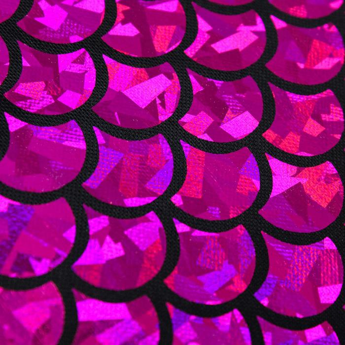 Трикотаж плательный, фойл, ширина 150 см, цвет  150 см, ярко-розовый