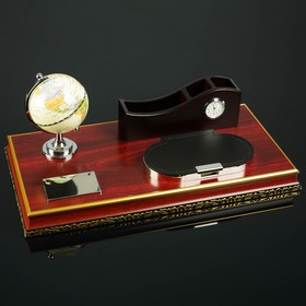 4in1 desktop set (globe, block d/securities podstavka printing, organizer 3-section clock) 44281