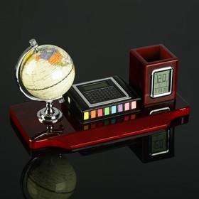 Набор настольный 3в1 (блок д/бумаг, карандашница с часами, глобус, калькулятор), микс