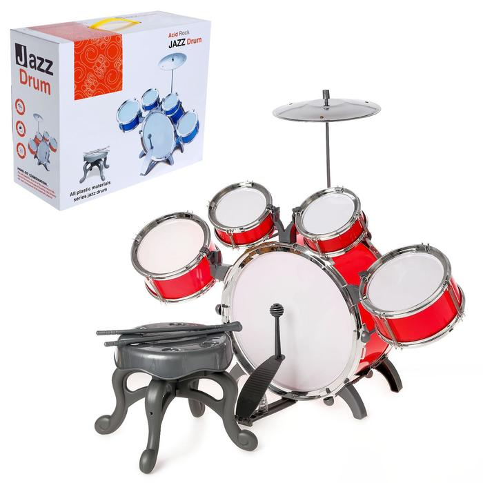 Барабанная установка «Крутой барабанщик», со стульчиком, МИКС