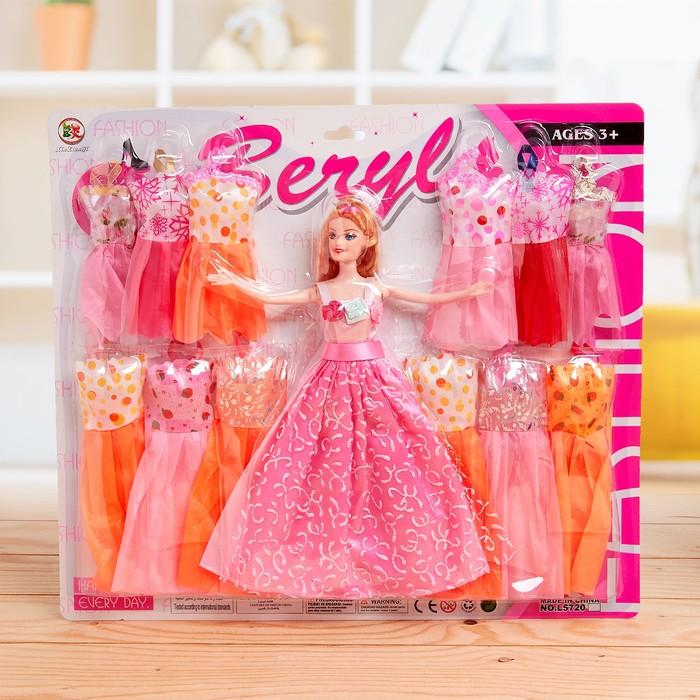 Кукла модель с набором платьев, МИКС