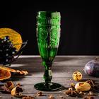 Бокал для шампанского Доляна «Ларго», 180 мл, 7×19,7 см, цвет зелёный - фото 219446