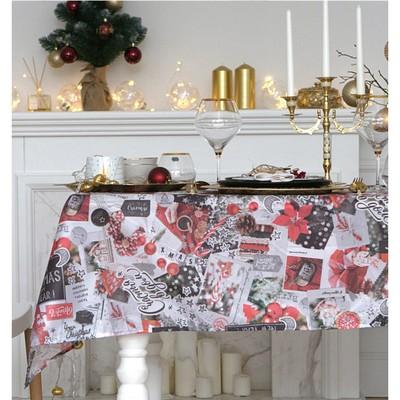 "Tablecloth ""Share"" new year collage 145х120см,100% p/e, Oxford 210 g/m2"