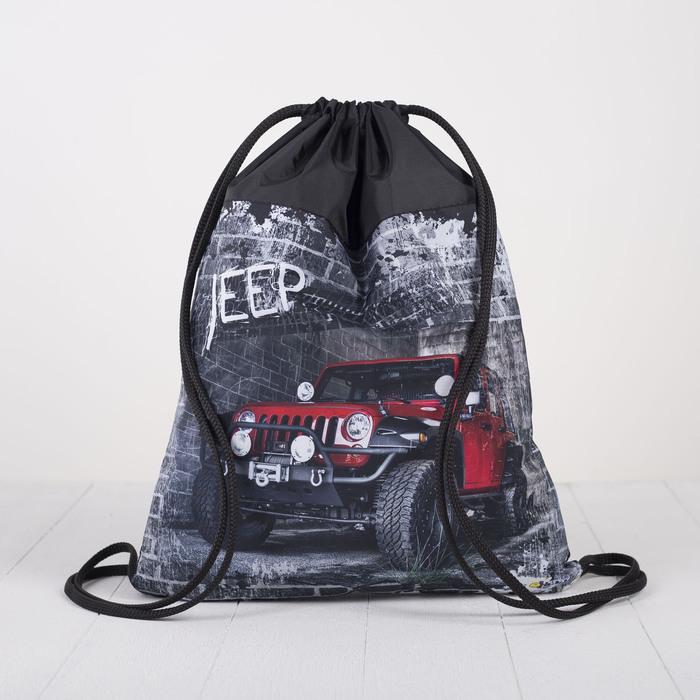 Мешок для обуви, отдел на шнурке, наружный карман, цвет чёрный