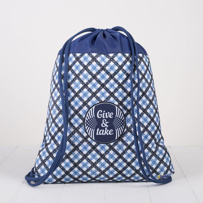 Мешок для обуви, отдел на шнурке, наружный карман, цвет синий