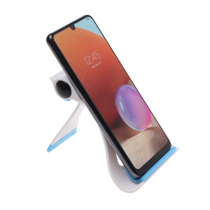 Анонс-изображение товара подставка для телефона luazon, складная, регулируемая высота, резиновая вставка, синяя   3916096