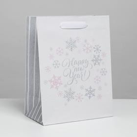 Пакет крафтовый вертикальный Happy new year!, MS 18 × 23 × 8 см