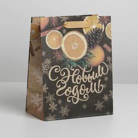 Пакет крафтовый вертикальный «Новогоднее настроение», MS 18 × 23 × 8 см