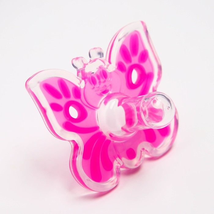 """Пустышка цельносиликоновая, """"Бабочка"""", классическая, от 0 мес., цвет розовый"""