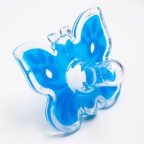 """Пустышка цельносиликоновая, """"Бабочка"""", классическая, от 0 мес., цвет голубой"""