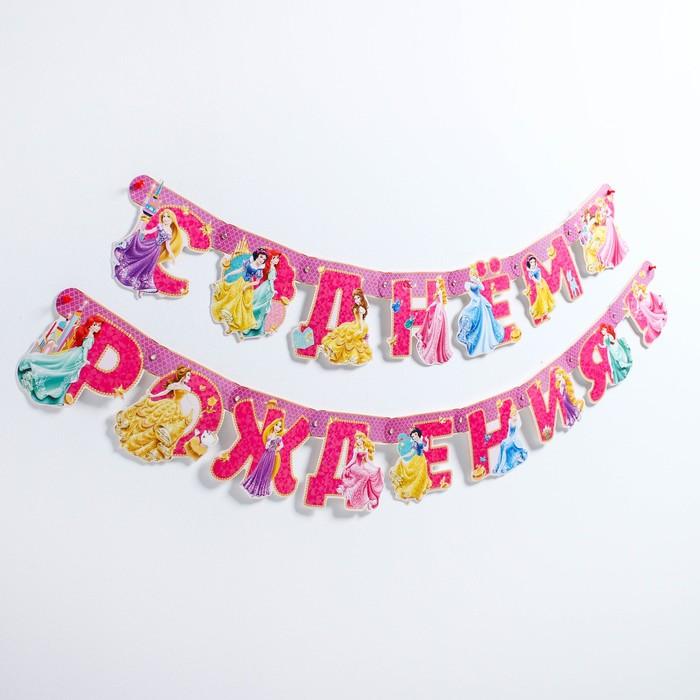 """Гирлянда на люверсах """"С Днем рождения!"""", Принцессы, дл. 218 см"""
