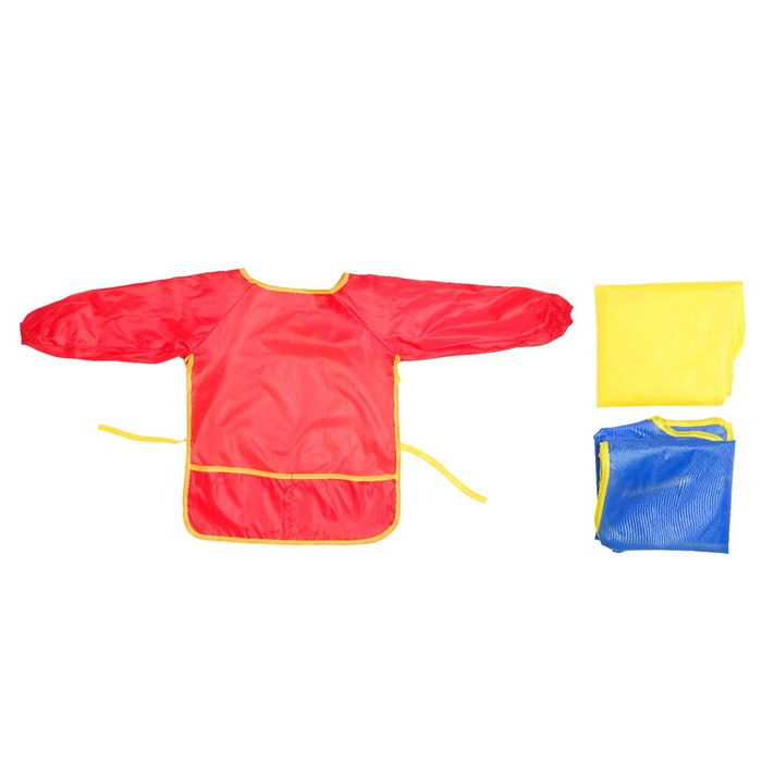 Фартук детский для творчества с рукавами и карманами, на завязках, размер S, цвета МИКС