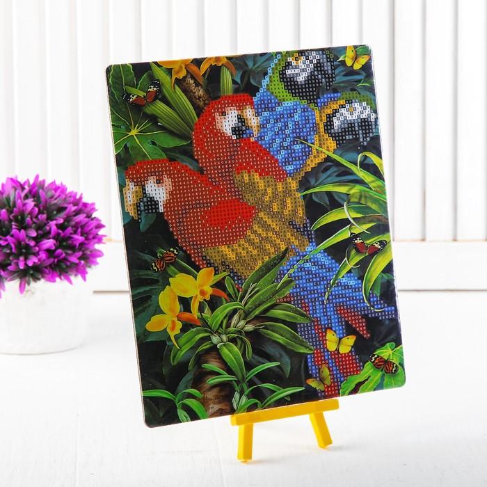 """Алмазная вышивка с частичным заполнением """"Попугаи"""" с подставкой, размер картины: 21 × 25 см"""