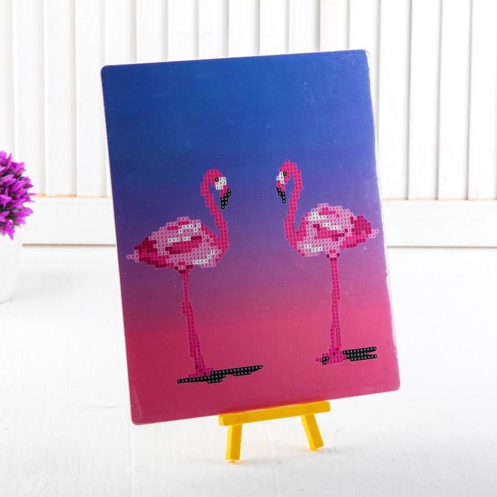 Алмазная вышивка с частичным заполнением «Пара фламинго», с подставкой, размер картины: 21 × 25 см