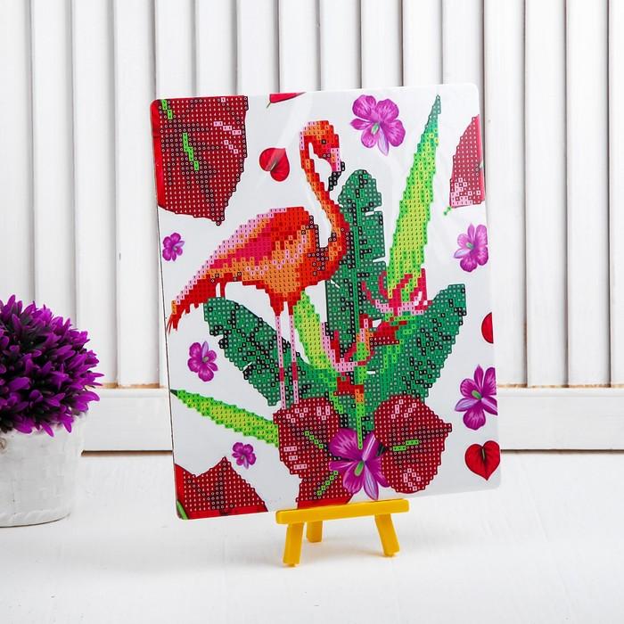 Алмазная вышивка с частичным заполнением «Фламинго с цветами», с подставкой, размер картины: 21 × 25 см