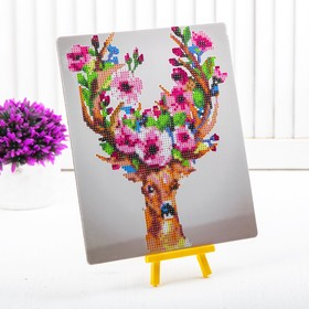 """Diamond embroidery with a partial filling of the """"Deer with flowers in their horns"""" with stand"""