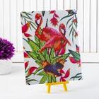 """Алмазная вышивка с частичным заполнением """"Пара фламинго с птичками"""" с подставкой, размер картины: 21 × 25 см"""