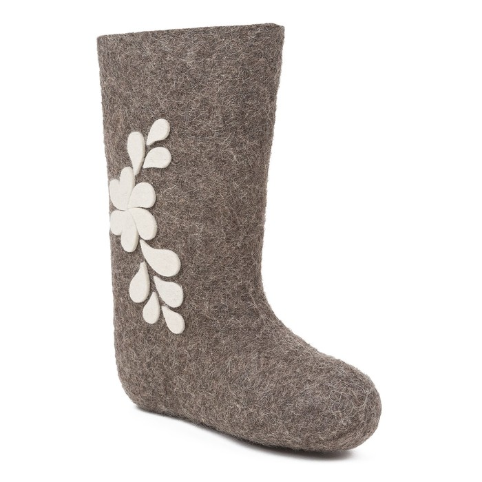 Валенки женские цветочная фантазия (серый) (см. 23 (35))