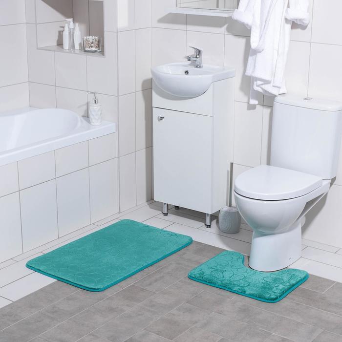 "Set of floor mats for bathroom and toilet ""Field"" 2-piece, 50 × 80, 39х50 cm, color green"