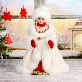 """Maiden 40 cm """"Chic"""" in white and red coat and mittens, is moving without music"""