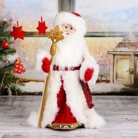 """Дед Мороз """"Шик"""" в красно-белой шубке с посохом, двигается, 47 см"""