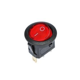 Клавишный выключатель круглый, 250 В, 6 А, ON-OFF, 3с, красный, с подсветкой