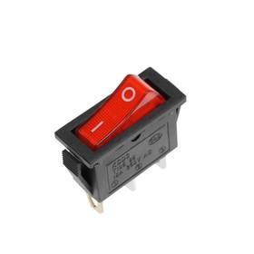 Клавишный выключатель, 250 В, 15 А, ON-OFF, 3с, красный, с подсветкой