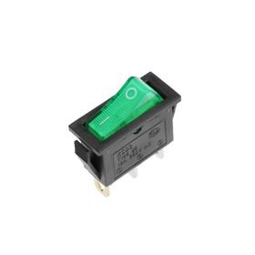 Клавишный выключатель, 250 В, 15 А, ON-OFF, 3с, зеленый, с подсветкой Ош