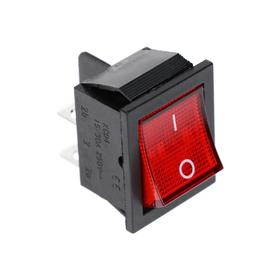 Rocker switch, 250 V, 15 A, ON-OFF, 4C, red, illuminated