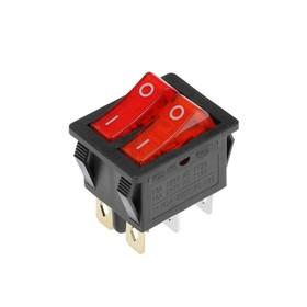 Клавишный выключатель двойной, 250 В, 15 А, ON-OFF, 6с, красный, с подсветкой