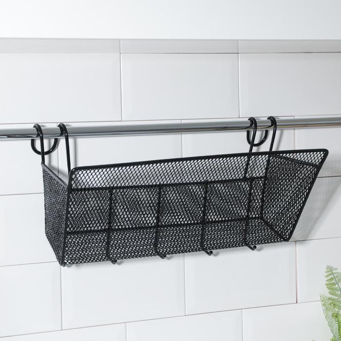 Shelf hanging Loft 35х17х22 cm, 5 hooks, black