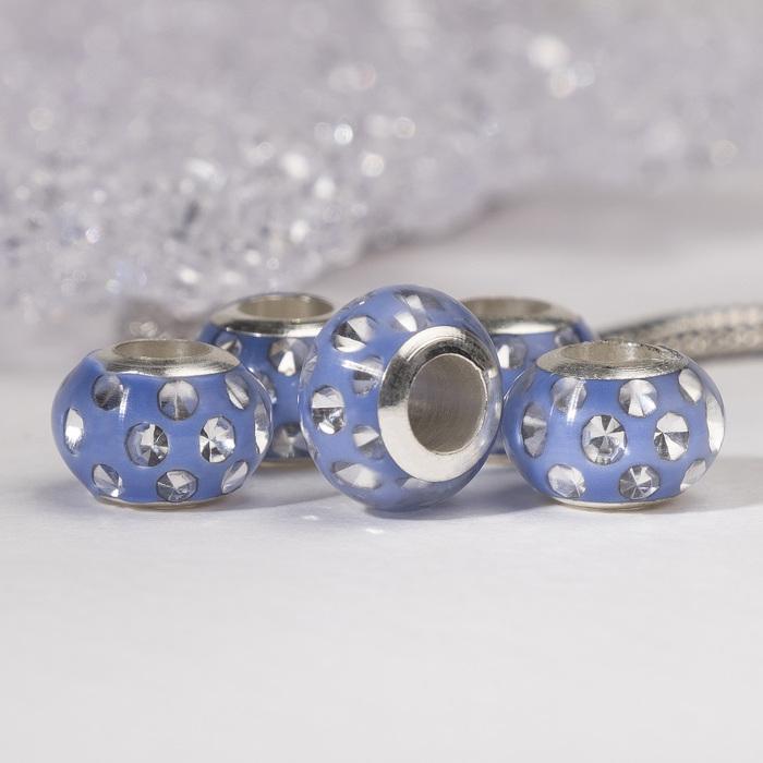 """Бусина """"Свежесть"""", цвет светло-синий в серебре"""