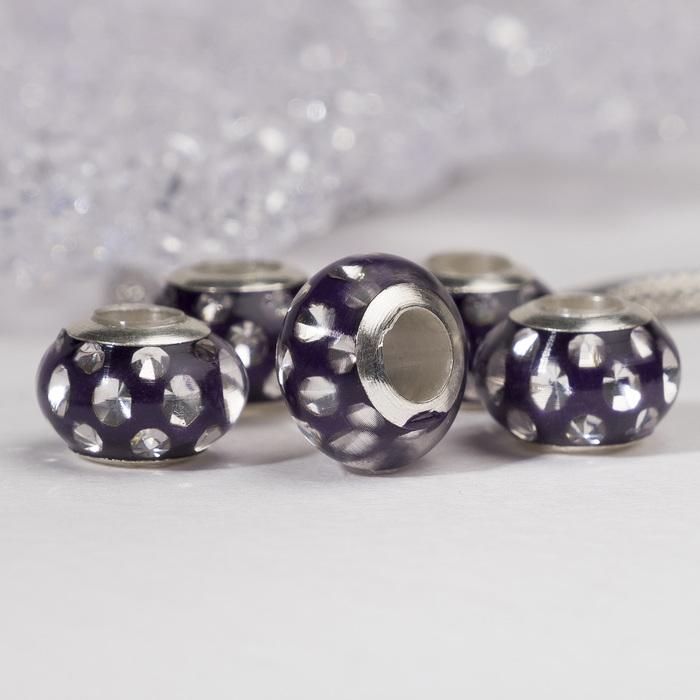 """Бусина """"Свежесть"""", цвет фиолетовый в серебре"""