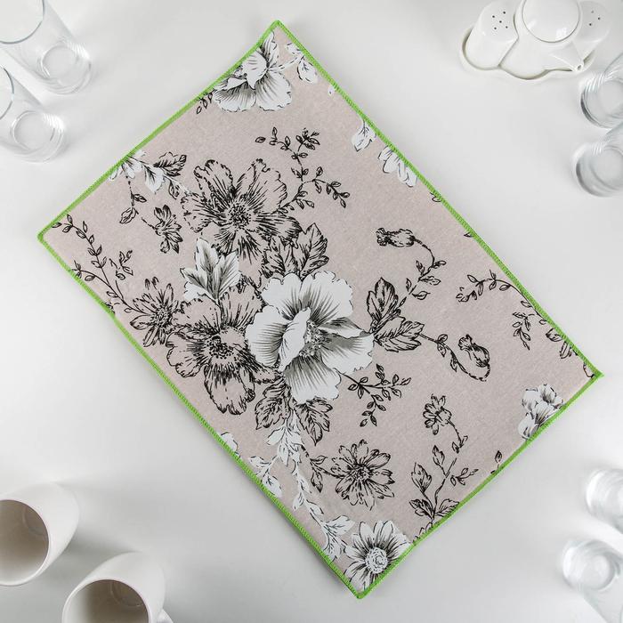 Салфетка для сушки посуды Доляна «Цветочный узор», 34×50 см, лён - фото 660189
