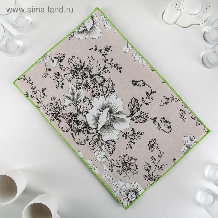 """Mat for drying dishes 34×50 cm """"Flower pattern"""", len"""