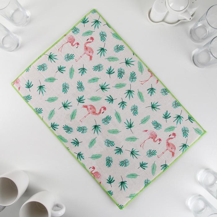 """Коврик для сушки посуды 34×50 см """"Фламинго"""", лён"""