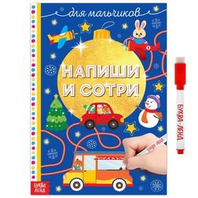 Многоразовая книжка «Пиши-стирай. Для мальчиков», 12 стр.