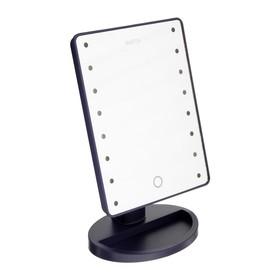 """Зеркало MARTA MT-2654, подсветка, 28x6x19.5 см, 16 светодиодов, 4хАА, цвет """"тёмный топаз"""""""