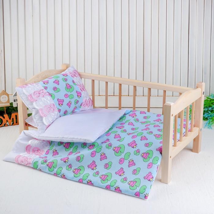 Постельное бельё для кукол «Царевна лягушка на голубом», простынь, одеяло, подушка
