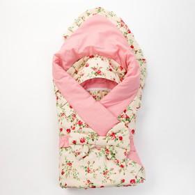 Конверт на выписку «Райский сад», цветы на розовом, 3 предмета, поплин/поликоттон